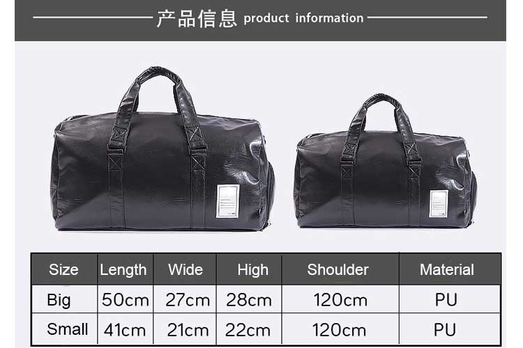 Hot Selling Men Fitness Bag Waterproof Tote Bag PU Travel Bag