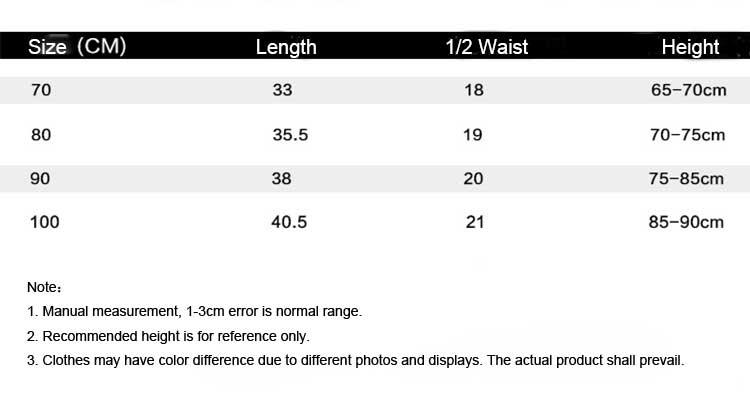 baby bodysuit size chart