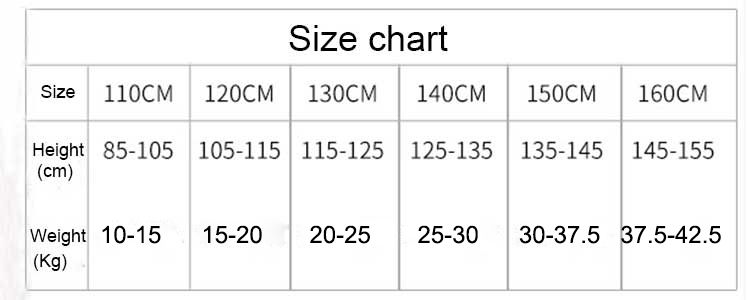 girls panties size chart