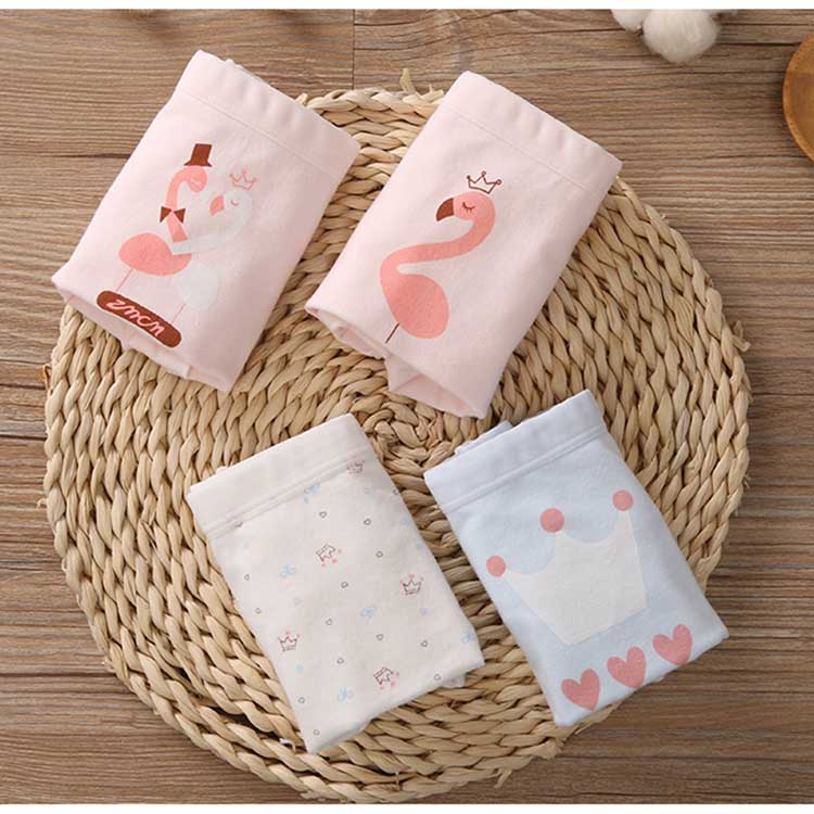 New Kids Underwear Cotton Children Panties Cartoon Flamingo Print Little Girls Boxer Briefs