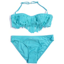 Solid Color Little Girls String Bikini Fringed Children Swimwear