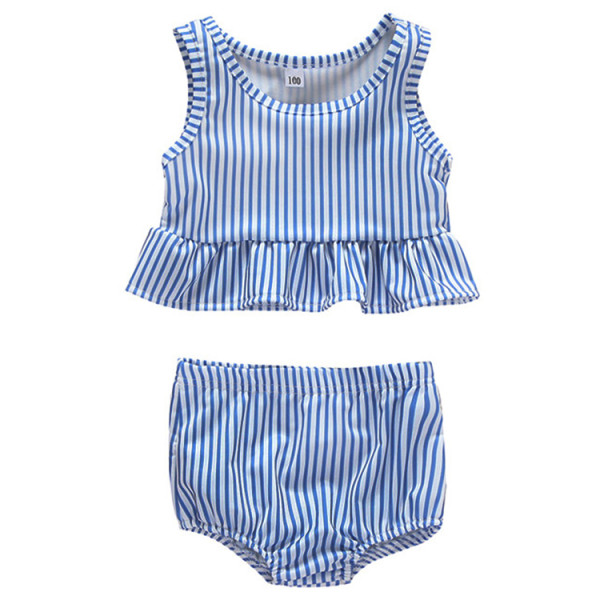 Summer Blue Striped Ruffled Kids Split Swimsuit Set Fashion Little Girl Swimwear