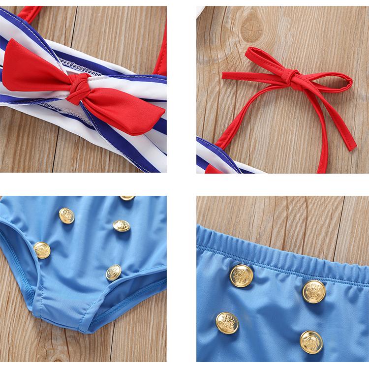 Summer Kids Split Swimsuit Blue Striped Bow Sling Little Girl Swimwear Set