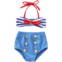 Summer Kids Split Swimsuit Blue Striped Bow Sling Little Girl Swimwear Set