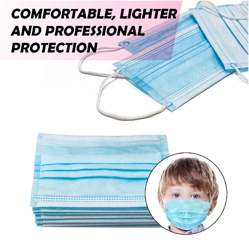 20pcs pack non-woven blue children protective masks 3 ply disposable kids face mask