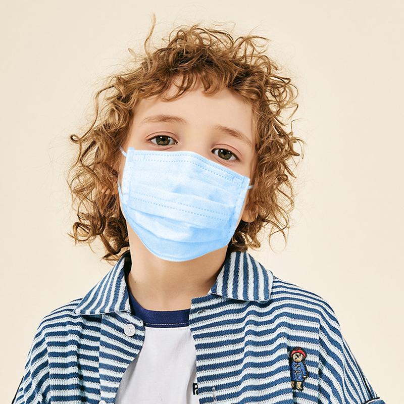 Blue 3 ply children protective masks kids disposable face mask