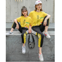 Summer new family matching mother daughter outfits T-shirt trackpants suit parent-child wear short sleeve two-piece set