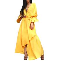 European American Sexy Women Bohemian One-piece Dresses Slim Waist V-neck Yellow Irregular Hem Dress