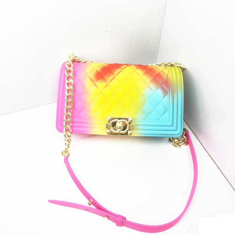 Women Fashion Matte Jelly Hand Bags Ladies Chain Shoulder Crossbody Bags Diamond Shaped PVC Jelly Bag