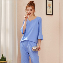 Summer solid bamboo fiber women pajamas short sleeve cropped pants home wear set for woman