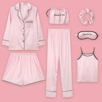 Spring Autumn Summer Imitation Silk Women Long Sleeve Home Wear Set Seven-Piece Pajamas