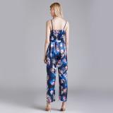 Amazon Hot Selling Ice Silk One-Piece Pajamas Women Summer Sleeveless Silk Sexy V-Neck Sling Home Wear Jumpsuit