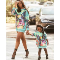 Instagram Hot Sale Digital Print Long Sleeve Family Sweatshirt Mother and Daughter Matching Clothing