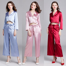 Instagram Hot Sale Spring Summer Women Pajamas Solid Silk Lounge Wear Long Sleeve Home Wear Set