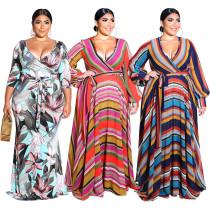 Hot Sale Autumn Bohemian Style V-Neck Printed Long Sleeve Plus Size Woman Dress