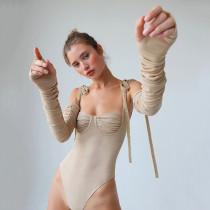 Instagram Hot Sale Summer Sexy Fashion Women Clothing Lacing Mesh Long Sleeve Bodysuit