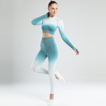 Amazon Hot Sale Fitness Sports Tight Gradient Color Yoga Clothing Long Sleeve Women Seamless Yoga Wear Set