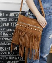 New Women Messenger Bag Fashion Velvet Willow Nail Tassel Crossbody Bag All-Match Shoulder Bag