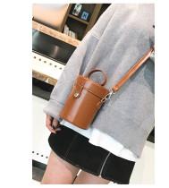 Fashion New Women Bucket Bag Portable Lock Cylinder Small Bag Ladies All-Match Shoulder Bag