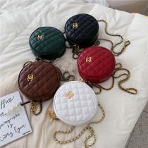 Facebook Hot Women Shoulder Bag Small Rhombus Chain Girl Messenger Bag Mini Round Bag