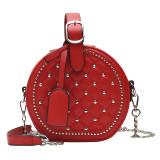 Hot Style Women Chain Bag Rhombus Rivet Small Round Bag Trendy Portable Messenger Bag All-Match Ladies Shoulder Bag