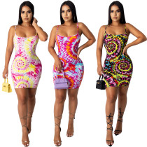 Amazon Hot Fashion Summer Women Clothes Tie-Dye Colorful Print Sling Slim Sexy Casual Dress