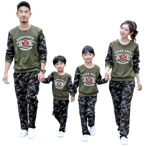 Fashion parent-child wear family autumn clothes family matching outfit whole family sportswear set