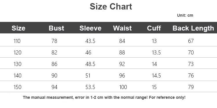 kids down coat size chart