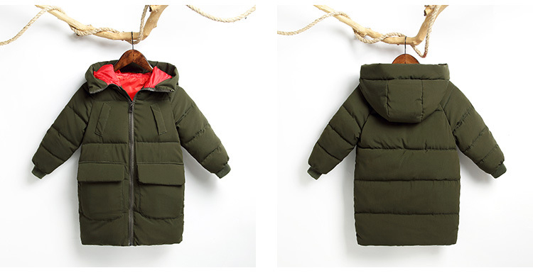 Winter Windproof Boys Warm Padded Jacket Mid-Length Children's Down Puffer Jacket Printed Hooded Kids Bubble Coats