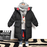 Hot Sale Winter Windproof Boys Warm Padded Jacket Mid-Length Children's Down Puffer Jacket Printed Hooded Kids Bubble Coats