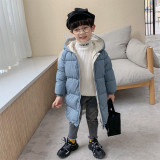 Hot Selling Children's Winter Clothes Boys Mid-Length Puffer Down Jacket Solid Kids Girl Thicken Hooded Padded Coat
