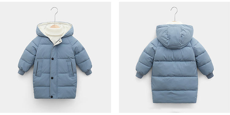 Children's Winter Clothes Boys Mid-Length Puffer Down Jacket Solid Kids Girl Thicken Hooded Padded Coat