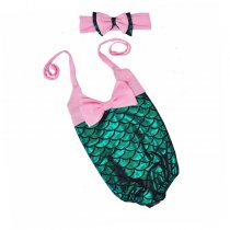 Fashion girls mermaid scale one-piece swimsuit and headband