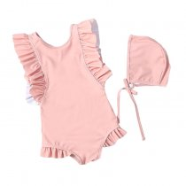 Little girls ruffles backless swimwear sleeveless one-piece swimsuit for children