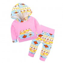 New Style Children Hoodies Clothing Set Printed Little Girls Clothing