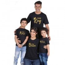 Summer Family Parent-Child Wear Crown And Letter  Short Sleeve T-Shirt