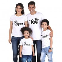 Fashion Summer Parent-Child Wear Crown And Words Printed T-Shirt