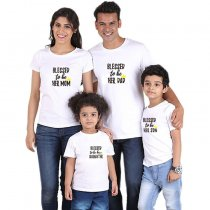 Parent-Child Wear Words Printed Summer Short Sleeve T-Shirt