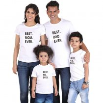 Parent-Child Wear Letter Printed Short Sleeve T-Shirt Summer Family Wear