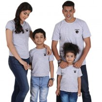 Summer Parent-Child Wear Lucky Printed Short Sleeve T-Shirt