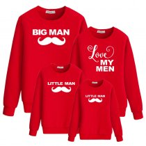 Moustache And Letter Printed Long Sleeve Parent-Child Sweatshirt