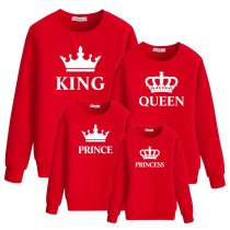 Long Sleeve Sweatshirt Crown And Letter Printed  Parent-Child Wear