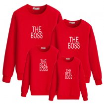 Parent-Child Sweatshirt Boss Printed Long-Sleeved Tops