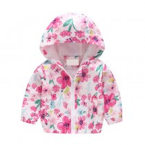 Hot Selling Kids Clothing Floral Printed Coat For Girls