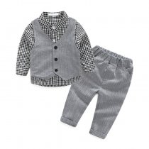 3 Piece Suit Infant Clothing Plaid Shirt Baby Boy Clothes Set