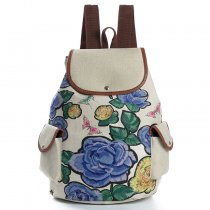 Girls Shoulders Backpack Linen Fabric School Bag For College Students
