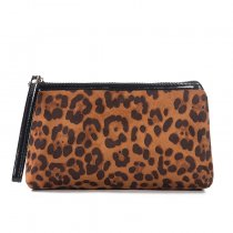 Leopard Print Polyester Lady Makeup Bag Travel Cosmetic Bags