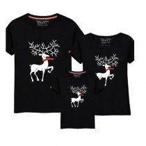 Christmas Family Matching Clothing Cartoon Moose Print Parent-Child T-Shirt