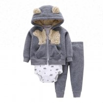 Cotton Long Sleeve Newborn Clothes Winter Baby Rompers 3-Piece Set
