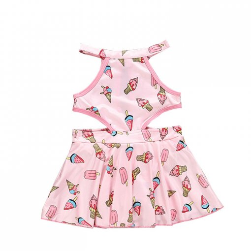 Hot selling one-piece swimsuit ice cream printed kids girls swimwear